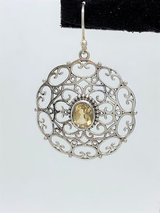Citrine Lace Disc Earrings .925