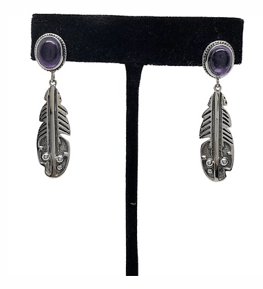 Amethyst Sterling Silver Feather Earrings .925