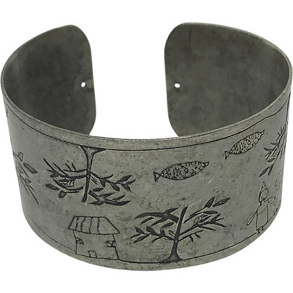 70s Hand Etched Cuff