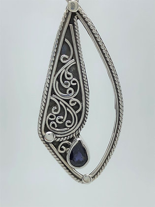 Sapphire Cut Out Tear Drop Earrings .925