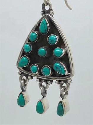 Turquoise Arrowhead Earrings .925