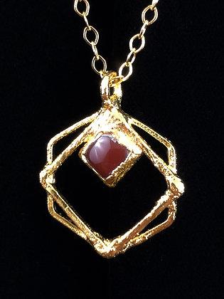 Garnet Hex Square Amulet
