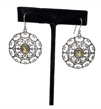 Citrine Lace Disc Earrings .925