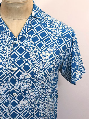 NYSOM Button Up Shirt Floral Blue