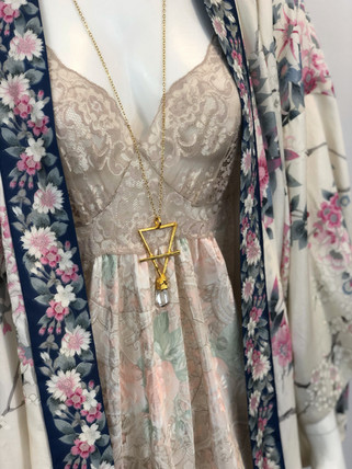 Misty Day Water Pendant over a Silk Kimono and Slip Dress