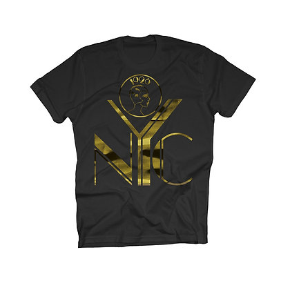 NYC LOGO TEE GOLD FOIL ON ANTHRACITE