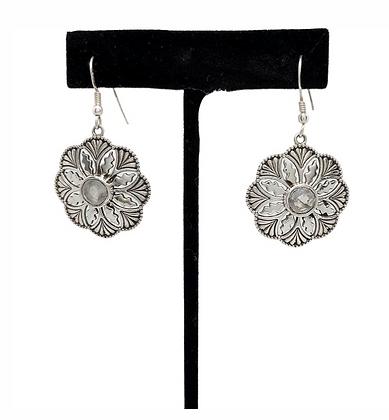 Moonstone Flower Disc Earrings .925