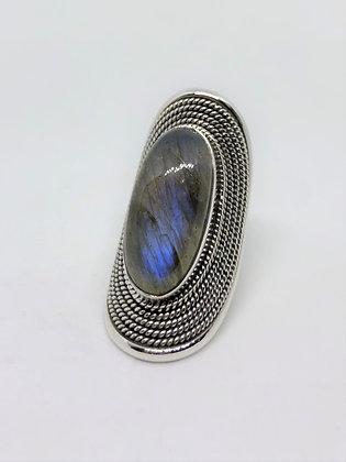 Labradorite Finger Shield Ring .925