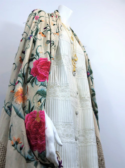 60s Lace Jacket with 20s Piano Shawl and an assortment of Martha B. Amulets