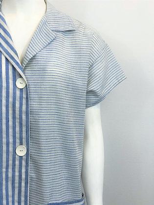 Seersucker Multistripe Button Up Shirtdress