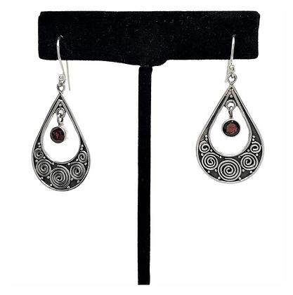 Garnet Swirl Teardrop Earrings .925