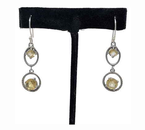 Citrine Duo Drop Earrings .925