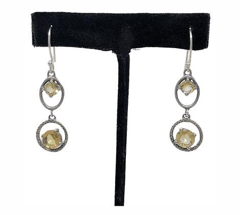 Citrine Duo Drop Earrings .925