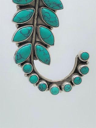 Turquoise Leaf Stud Earrings .925
