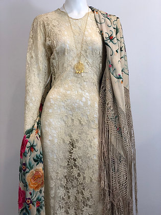 20s Embroidered Silk Piano Shawl