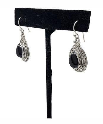 Onyx Teardrop Earrings .925