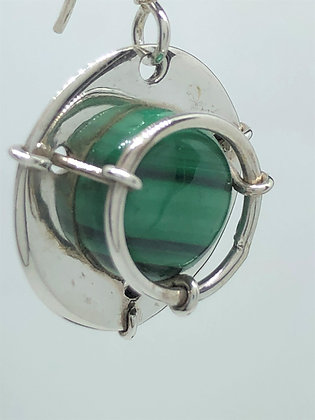 Malachite Compass Earrings .925