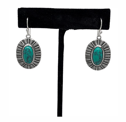 Turquoise Basket Earrings .925