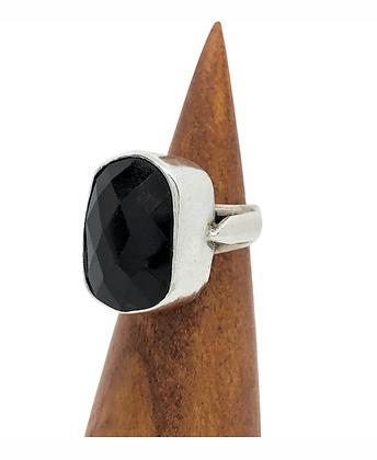 Onyx Bezel Set Ring .925