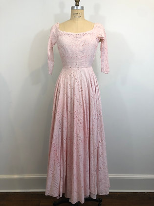 40s Eyelet Lace Quadrille Dress