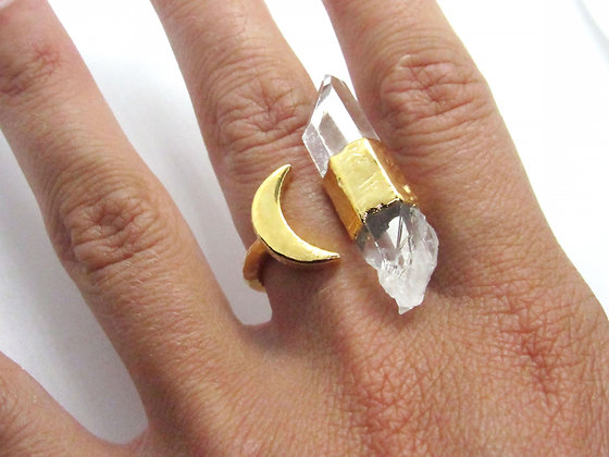Double Terminated Moon Ring