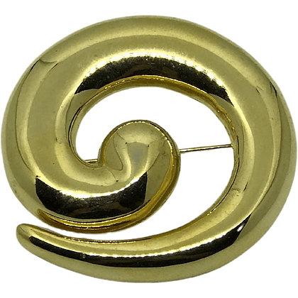 80s Spiral Brass Brooch