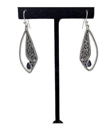 Sapphire Cut Out Tear Drop Earrings .925