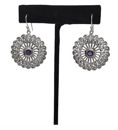 Amethyst Peacock Feather Disc Earrings .925