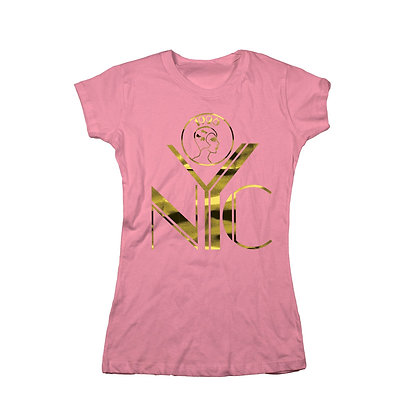 NYC LOGO GOLD FOIL ON HOT PINK