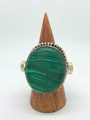 Poison Ring - Oval Malachite