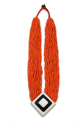 Tibetan Orange Bead Necklace