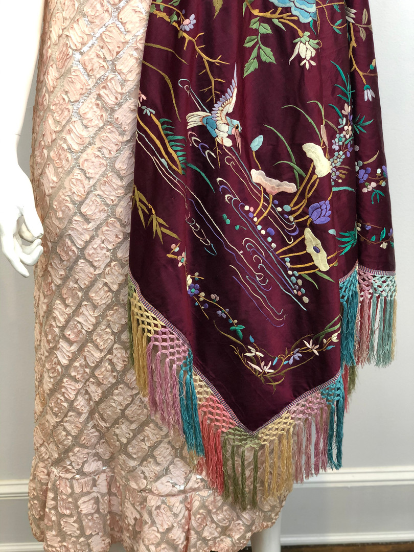 20's Silk Embroidered Piano Shawl