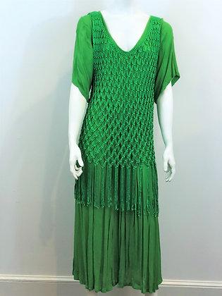 Green Fringe Macrame Dress