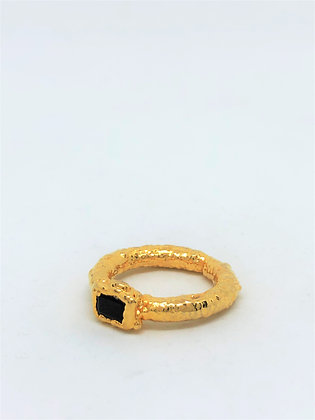 Square Bezel Texture Ring