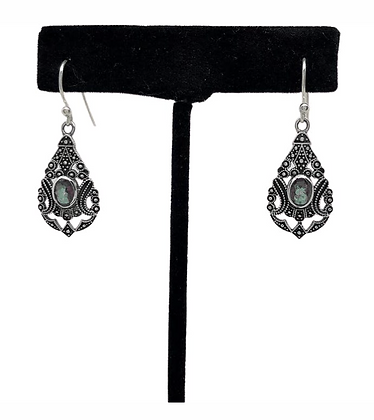 Labradorite Filligree Raindrop Earrings .925