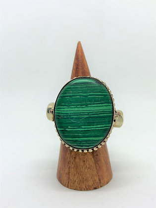 Poison Ring - Oval Malachite