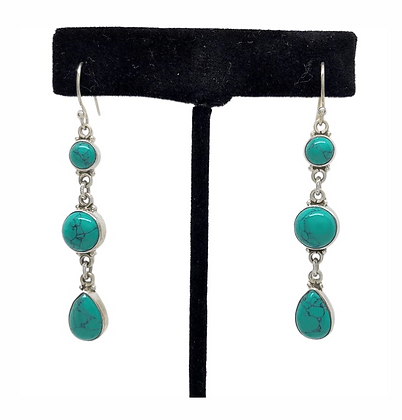 Turquoise Three Drop Earrings .925