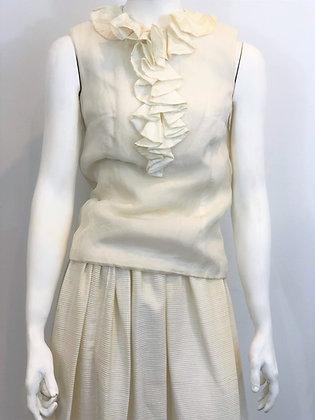 40s Sleeveless Silk Chiffon Blouse