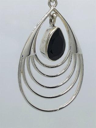 Smoky Quartz Radial Teardrop Earrings .925