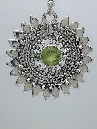 Peridot Sunflower Earrings .925