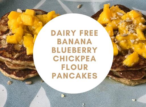 Dairy Free, Banana Blueberry Chickpea Flour Pancakes