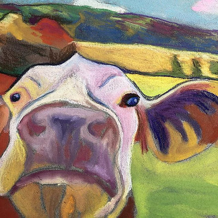 A bit of progress on my pastel cow. #pas