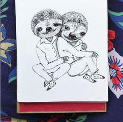 Sloth Couple Illustration - Bicho Preguiça