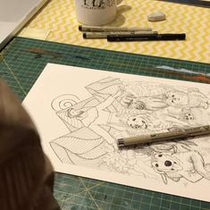 Sketch of illustration for Sara's dog for canvas print