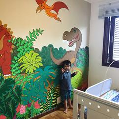 dinosaurs wall art - wall art - posca and acrylic paint