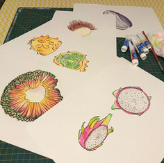 Set of Watercolor exotic fruits
