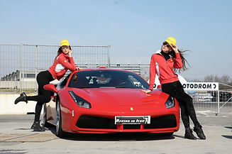 Ferrari 488 girls small racing in italy.