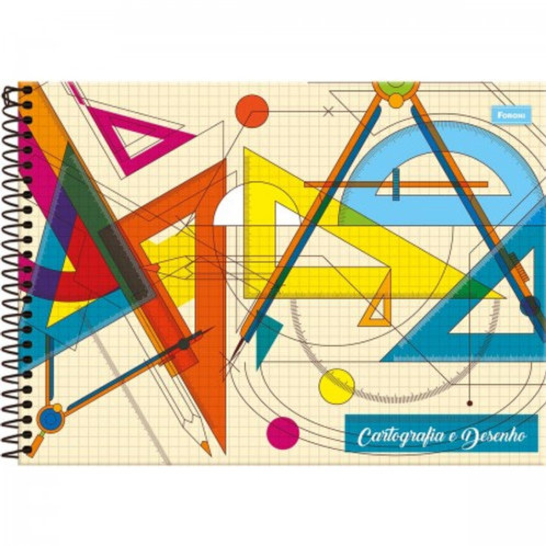aderno Cartografia Capa Dura (Milimetrado) Pedagógicos Básico 96 Folhas