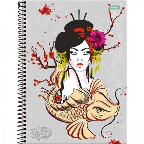 Caderno Universitário And One Tattoo 10 Matérias 160 Folhas