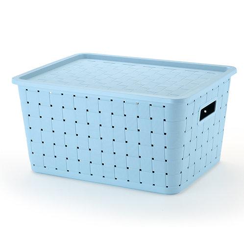Caixa prática rattan 29lts azul 1610AZ